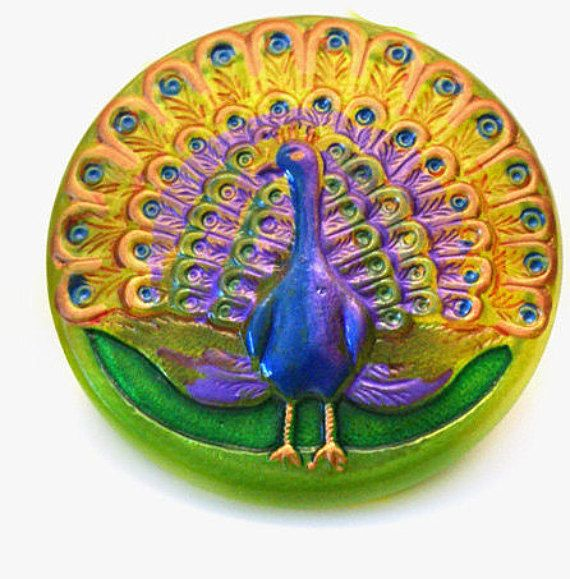 PEACOCK Czech Glass Button  38mm  Focal Button  1 by jodysbeads