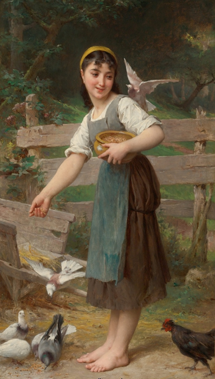 Emile Munier (1840-1895) the doves: