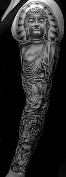 Tatuaje Hombro Brazo Buda Religioso Manga por Jun Cha