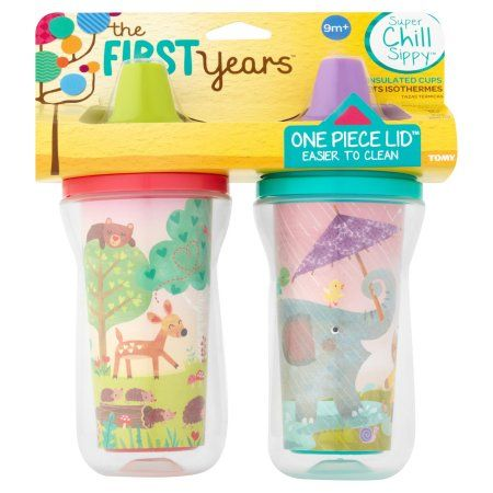 Tomy The First Years Super Chill Sippy 9 oz Insulated Cups 9m+, 2 count, Pink
