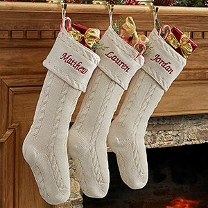 I LOVE these Classic Cable Knit Embroidered Knit Stockings! This site embroiders them with any name for free! #Christmas #Stocking