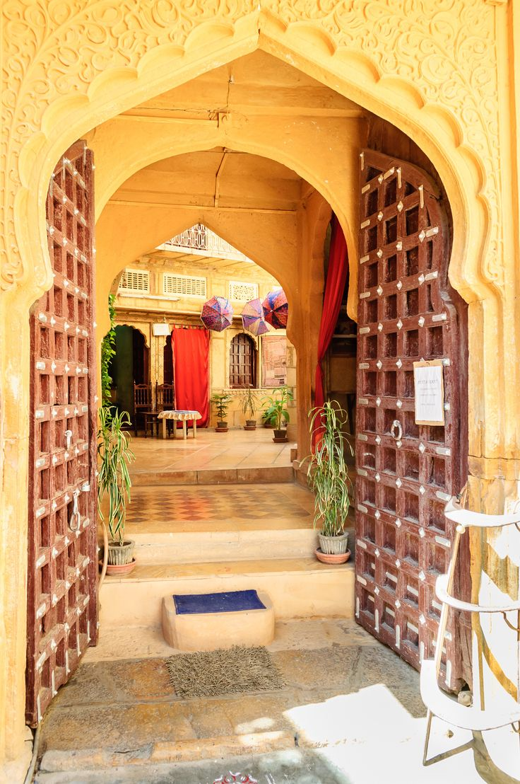 Open doors and arched doorwayinside Golden Fort of Jaisalmer, Rajasthan