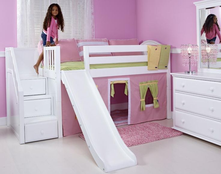matrix low loft bed with stairs and slide love but needs a canopy. Black Bedroom Furniture Sets. Home Design Ideas