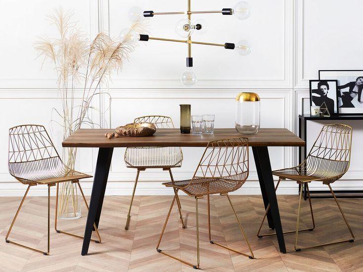 Table de salle à manger noire et marron 160 x 90 WITNEY