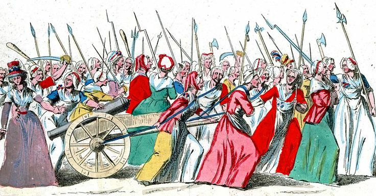 Women's March on Versailles, 5-6 october 1789. Women played a major role in the French Revolution. This picture shows the women's march on V...