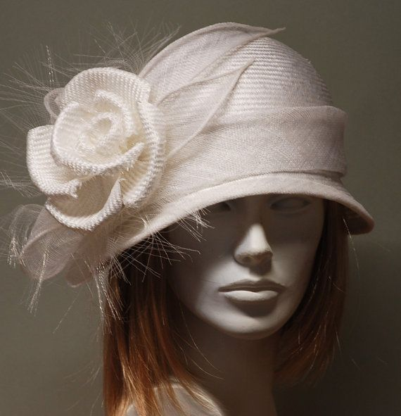White vintage style straw cloche hat for women - White hat for weddings, Ascot, Kentucky Derby -