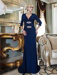 Sheath/Column V-neck Sweep/Brush Train Jersey Evening Dress ... – USD $ 117.99