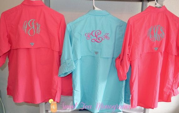 White women 39 s monogrammed bahama columbia pfg fishing for Fishing shirts for women