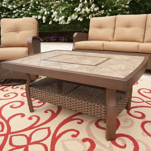 New Outdoor Wicker Patio Furniture Set Tile Table Deep Seating Sofa 2 Chairs
