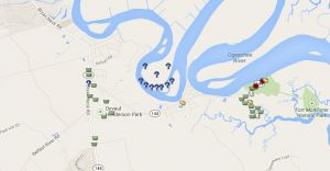 A map showing some amazing Geocaching Geo-Art.