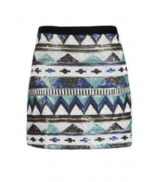 Sequin Mini Skirt, Cute Sequin Skirt, Aztec Sequin Skirt, Tribal Sequin Skirt, Aztec Pattern Skirt, Tribal Pattern Skirt, Geometric Sequin Skirt