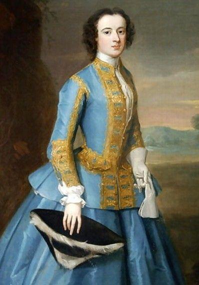 """A Lady in a Riding Habit"", Enoch Seeman, ca. 1725; location unknown. blue riding habit with gold trim, black tricorn"
