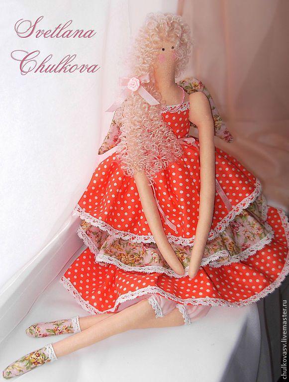 Купить Кукла Алиса - ярко-красный, горошек, розовый, в цветочек, кудряшки…
