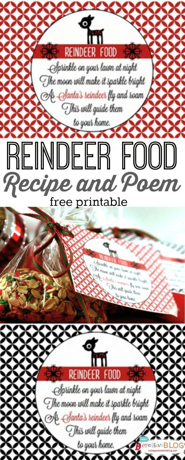 Reindeer Food Recipe and Poem | Free Christmas Printable | Make up a batch of reindeer food to pass out to your neighbors. Find the free printable tag and recipe on http://TodaysCreativeLife.com