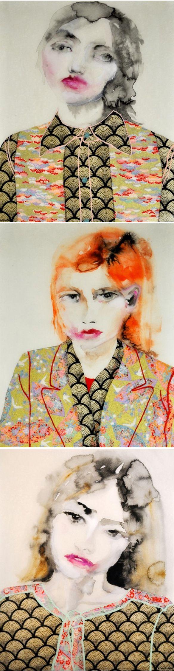 mixed media (paint & japanese paper) by lisa krannichfeld