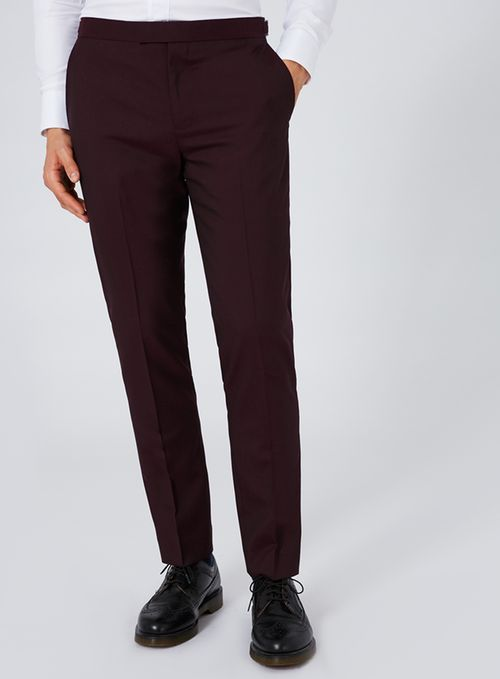 CHARLIE CASELY-HAYFORD X TOPMAN Maroon Skinny Wedding Suit - Fine Tailoring By Charlie Casely-Hayford - Suits - TOPMAN