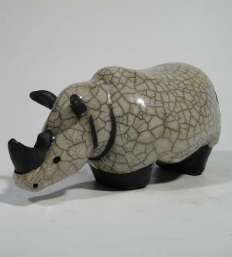 SAVANNAH RHINO XL Céramique d'art Raku Les hippos et rhinos statues et décoration céramique d art - Paris France