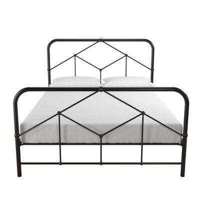 Full Francis Farmhouse Metal Bed Black Novogratz In 2020 Metal Platform Bed Metal Beds Black Bedding