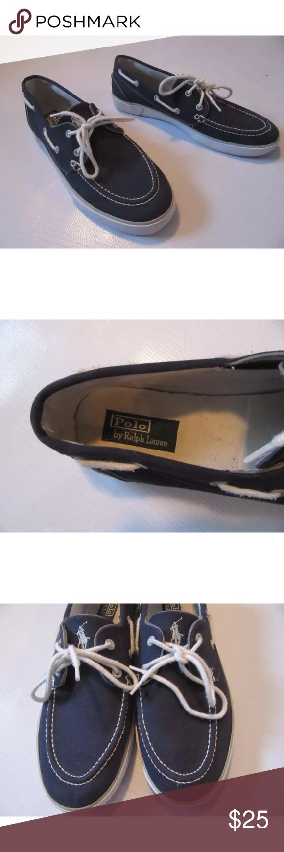 Polo by Ralph Lauren Lander boat shoes Item is in 7/10 condition. Navy blue & white Lander boat shoes • Lace fasten • Deck shoe lacing to sides • Metal eyelets • Embroidered logo detail to tongue • Double stitch detail to upper • Contrast colour piping • Padded insole • Vulcanised white rubber sole with logo detail to heel • Canvas upper, rubber sole. Polo by Ralph Lauren Shoes Boat Shoes