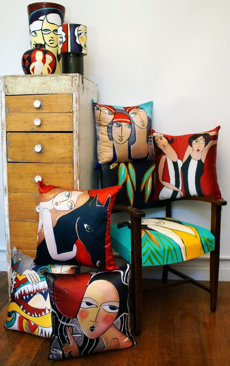 Selection of Bespoke original painted objects and Limited edition cushions by Samantha Thompson