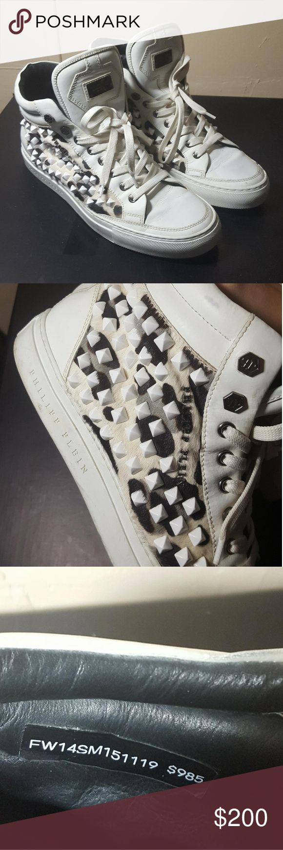 PHILIPP PLEIN studded sneakers 100% authentic European size 41 or men's size 9 great condition no box  Amazing quality leather beautiful calf hair uppers with studs  still has the $985 price tag in shoe  #saksfifth #neiman marcus #ferragamo #versace #gucci #vlone #burberry #rick owens #raf simons #off white #virgil abloh #yohji yamamoto #palace #supreme #a bathing ape #bape #louis vuitton #Christian louboutin #giuseppe zanotti #fear of god #yeezy #kanye West Philipp Plein Shoes Sneakers