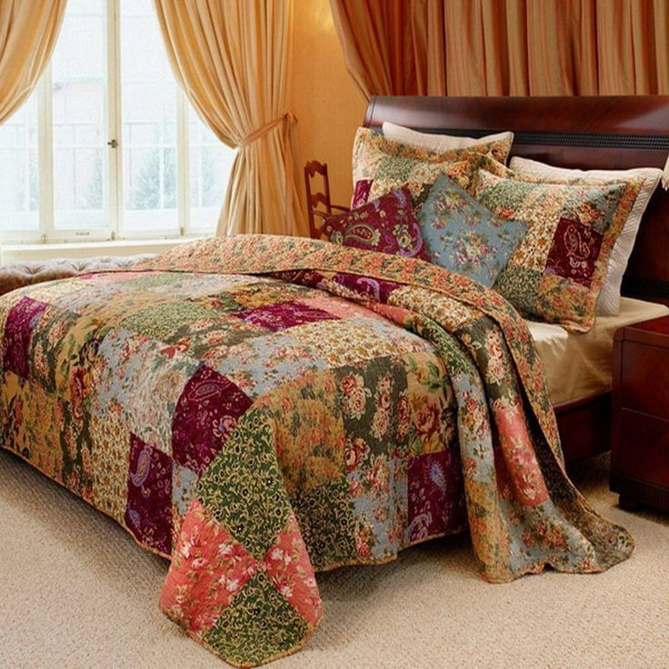 French Country Patchwork Pattern 100 percent Cotton Reversible Bedspread and Shams Set.  Oversized quilt set that goes to the floor, no need a bed skirt.. Country Cottage Style floral design bedding set made of 100 % cotton cover and fill. Reversible to a coordinating floral pattern.