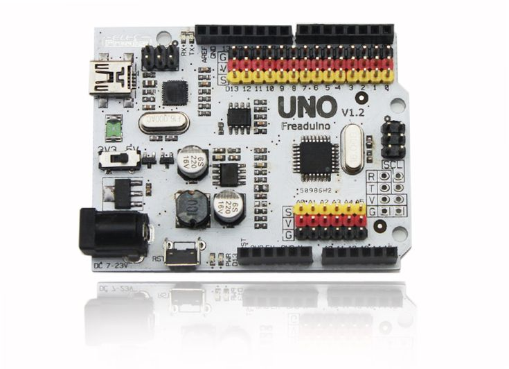 Freaduino UNO is an Arduino compatible board. It is based on Arduino UNO Rev3 design. So you can use Freaduino as Arduino UNO Rev3 . All code, shield and IDE for Arduino UNO Rev3 are also valid on Freaduino UNO. Some visible improvement on hardware make Freaduino UNO more flexible and easier.
