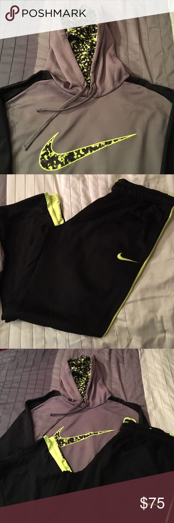 Men's Nike Sweatsuit Bundle Black, Grey, and Neon Green! XXL Men's hoodie and pants. Only wore once! Sold as a set Nike Other