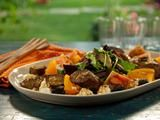 Grilled Lamb Sausage with Goat Cheese, Heirloom Tomatoes, Olives and Herbs Recipe