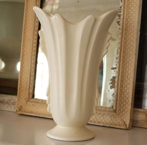 Vintage White Matte Pottery Vase ca 1940