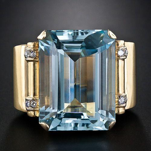 Retro Aquamarine Ring, ca. 1940-50s