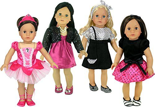 Black and Fuchsia Dresses for 18 Inch Dolls, 14 Pieces Co...