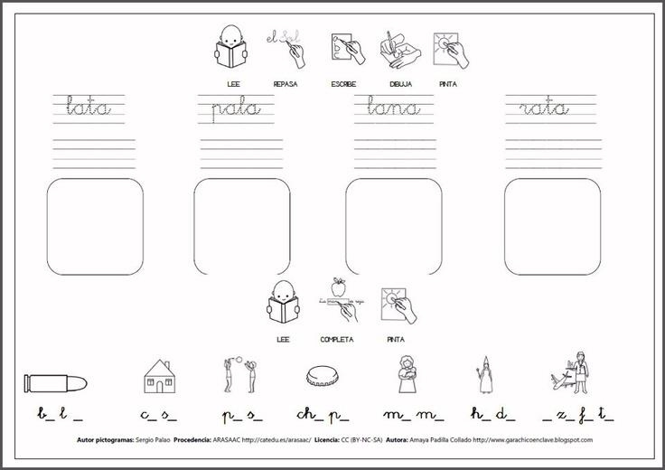MATERIALES - Programa de Escritura.    Programa para trabajar la escritura de cada letra del abecedario. Actividades tipo para cada letra (completar, pintar, rodear, escribir…).    http://arasaac.org/materiales.php?id_material=341