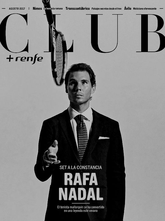 """Rafael Nadal on the cover of the 'Club+Renfe' magazine """