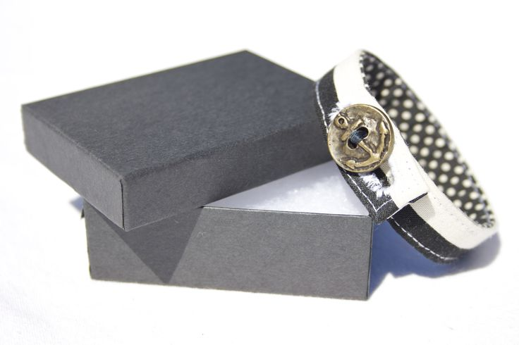 Material Anchor Bracelet - Charcoal Black & White