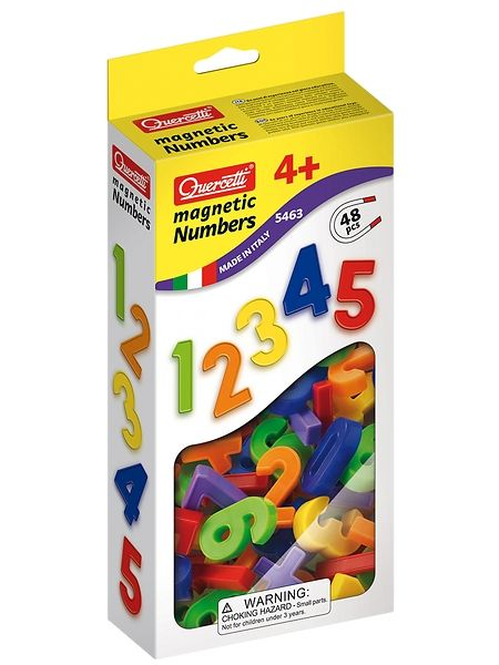 Hauskat magneettinumerot noin 3,5 cm:n kokoisina, 6 eri värissä. Pakkauksessa on numerot 0–9 (4 kpl kutakin), plusmerkki, 2 miinusmerkkiä, jako- ja kertomerkit sekä 2 viivamerkkiä ja yhtäläisyysmerkki. Ikäsuositus 4+