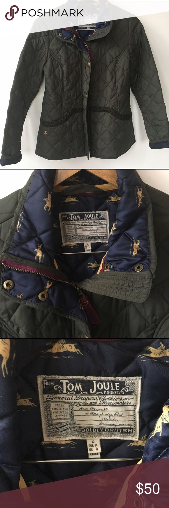Joules quilted jacket Green quilted Joules fitted jacket with corduroy trim, zipper/snaps and fun lining. Joules Jackets & Coats Utility Jackets