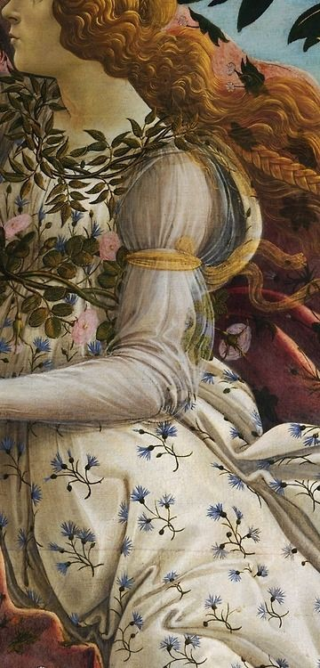 """Detail from Botticelli's """"The Birth of Venus"""" (the lady on the right-hand side). The details are beautiful."""