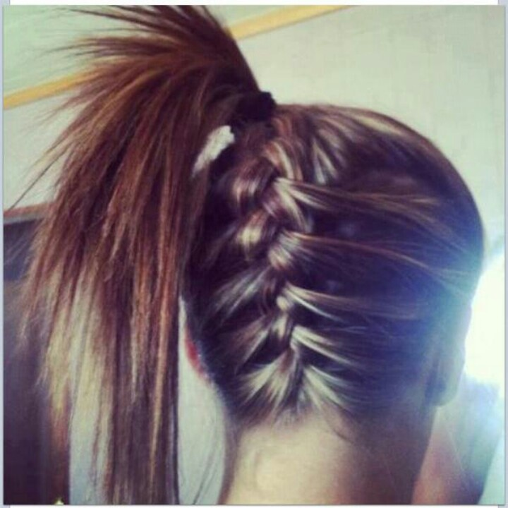 French braid at the bottom to half of your head ( crown) & a simple cute pony tail