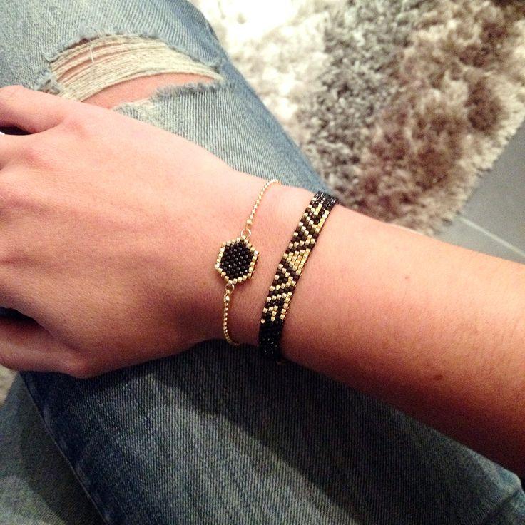 Bracelets ALPHA et HEXAGONA noir et or à retrouver sur la boutique http://artistic-bracelet.com/
