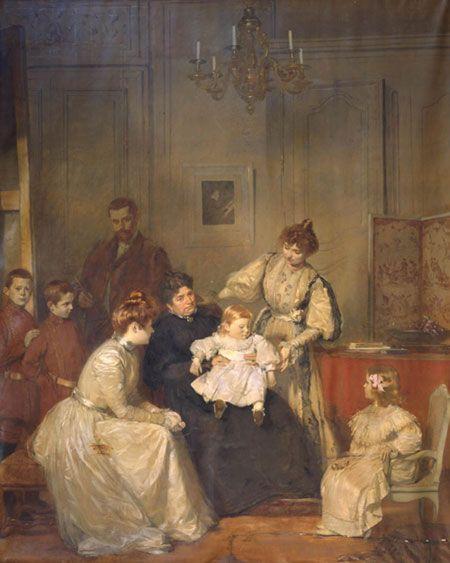 peinture « Ma famille ou Portrait de famille » Marcel BASCHET, (1898). Huile sur toile. 309 x 247 cm.