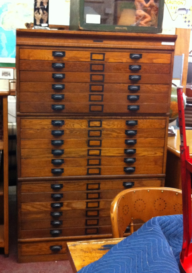 Oak Map Drawers Circa 1920 Perfect For An Office Map