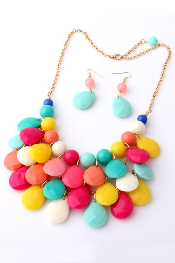 The sets featuring layered necklace and teardrop earrings. Multicolor. The necklace with adjustable clasp. The earrings with post backs.