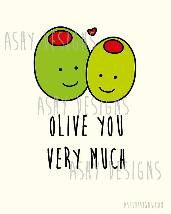 OLIVE YOU VERY MUCH - Cute Fruit Pun - Gift for Boyfriend, Husband, Girlfriend, Wife - Printable Wall Art Poster 8x10 Digital Instant Download by AshyDesigns, $12.00
