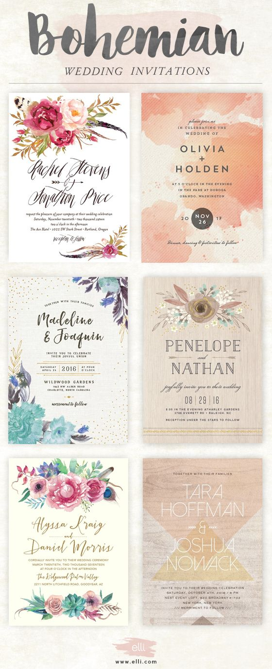 top bohemian wedding invitations featuring flowers and feathers click here to see more stunning boho