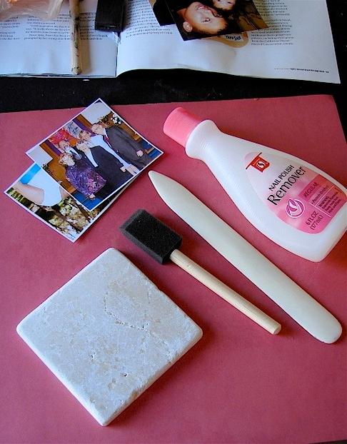 Transferring photos onto tiles with nail polish remover