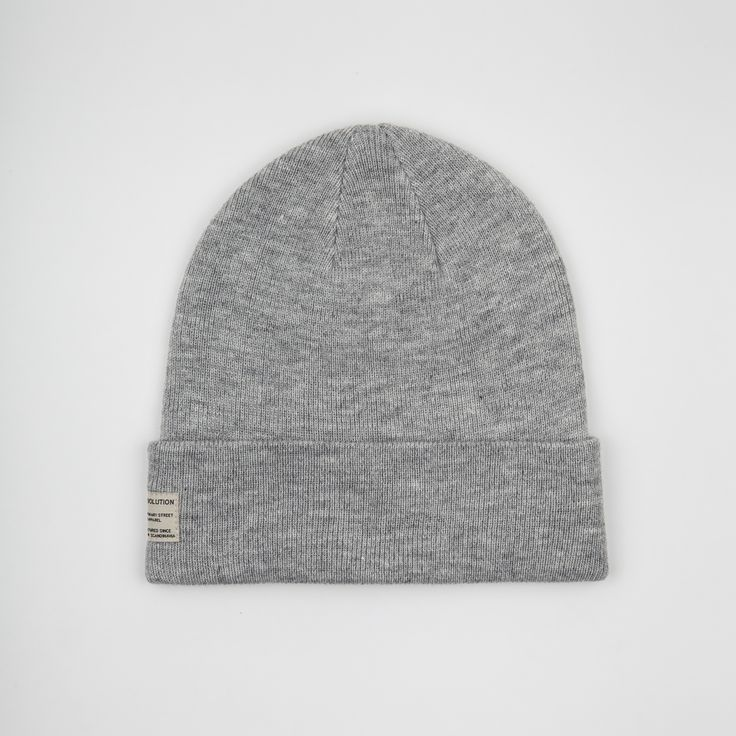 RVLT - men's fashion. Lightgrey acrylic beanie knit.