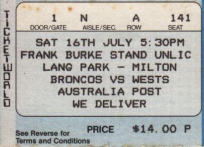 Broncos vs Wests, Lang Park, Brisbane 1988.