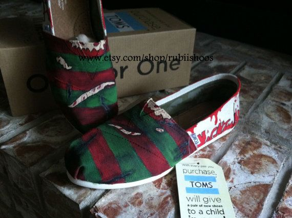 Love my shoes!!!  Freddy Krueger Sweater A Nightmare on Elm Street Bloody Toms on Etsy, $98.00