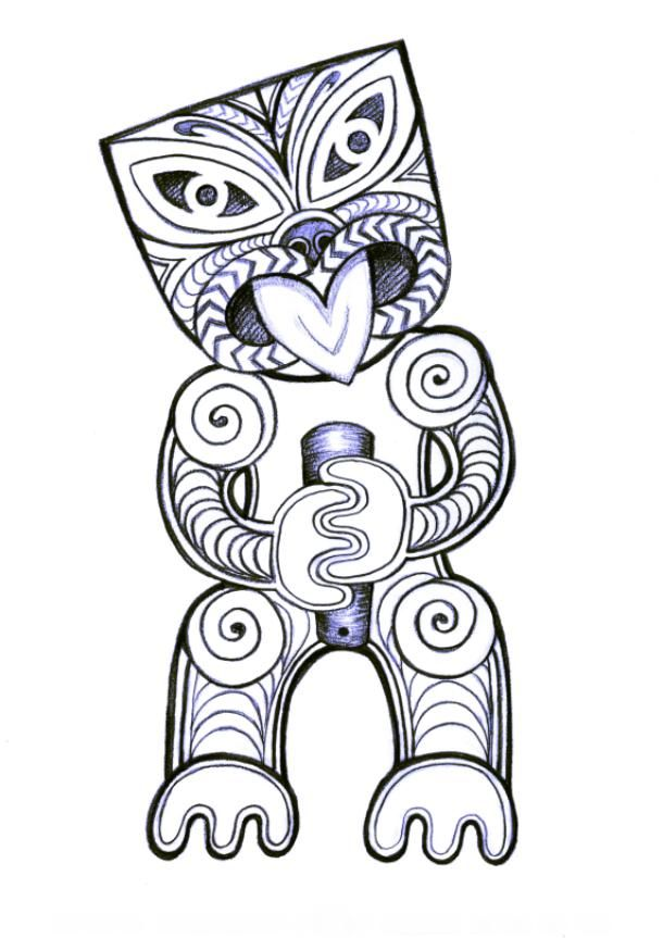 Tiki Warrior - Amanda Van Gorp 2012, Illustration, graphite pencil on paper.
